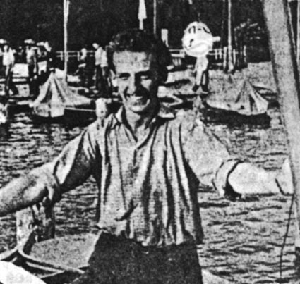 Andre Nelis after winning the Finn Gold Cup in 1956